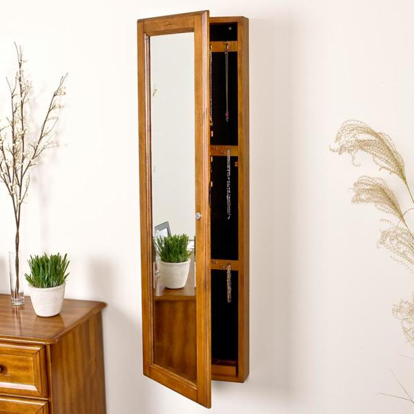48 1 4 In X 14 2 Wall Mounted Jewelry Armoire With Mirror Plantation Oak