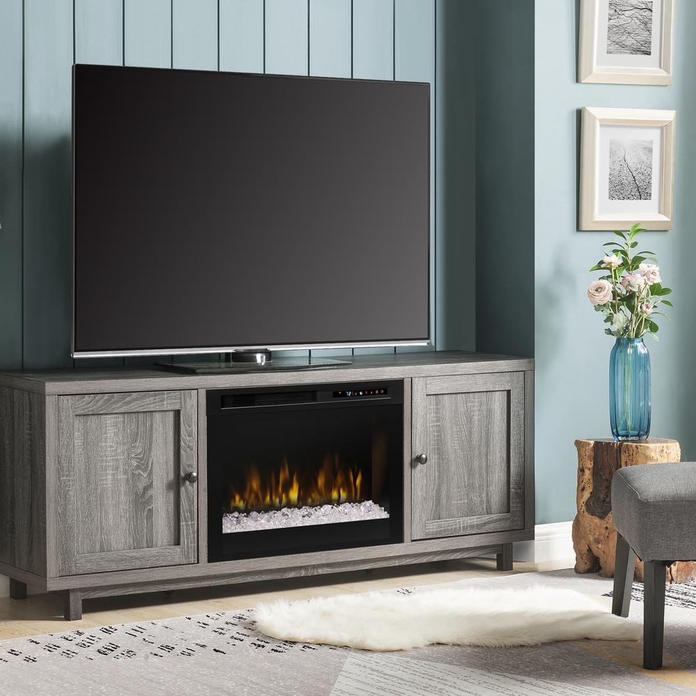 Dimplex Jesse 65 in. Electric Fireplace and Glass Ember Bed in Iron Mountain Grey with 26 in. Media Console