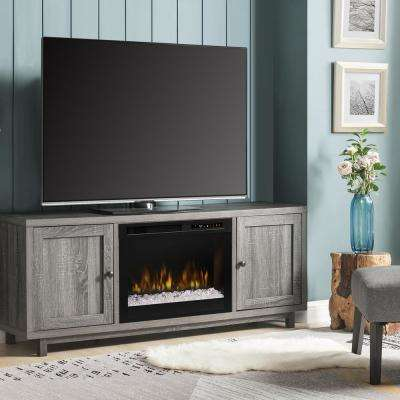 Jesse 65 in. Electric Fireplace and Glass Ember Bed in Iron Mountain Grey with 26 in. Media Console