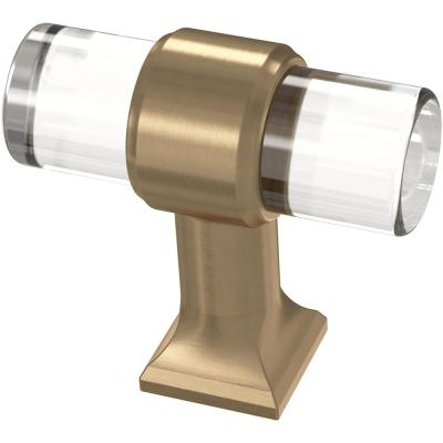 Acrylic Bar 1-9/16 in. (40 mm) Champagne Bronze and Clear Cabinet Knob