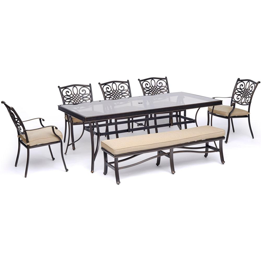 Miraculous Hanover Traditions 7 Piece Aluminum Outdoor Dining Set With Tan Cushions 5 Dining Chairs Bench And Glass Top Table Ocoug Best Dining Table And Chair Ideas Images Ocougorg