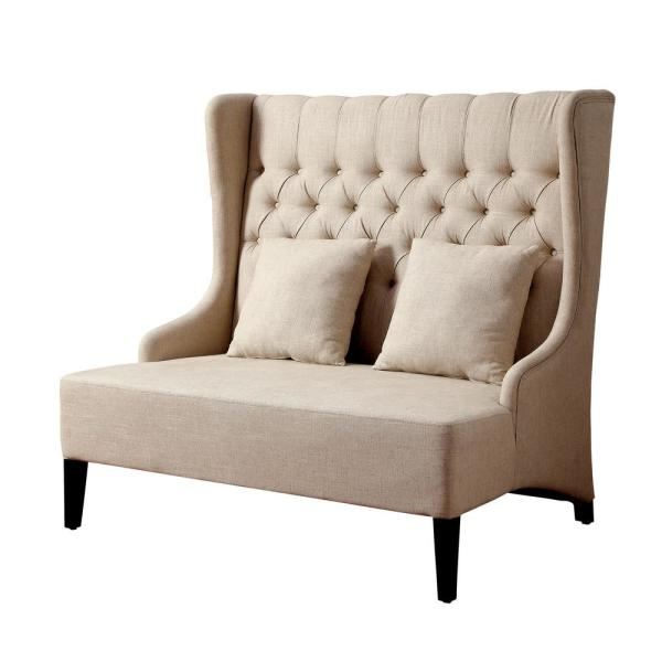 William's Home Furnishing Lavre Ivory Contemporary Style Love Seat Bench