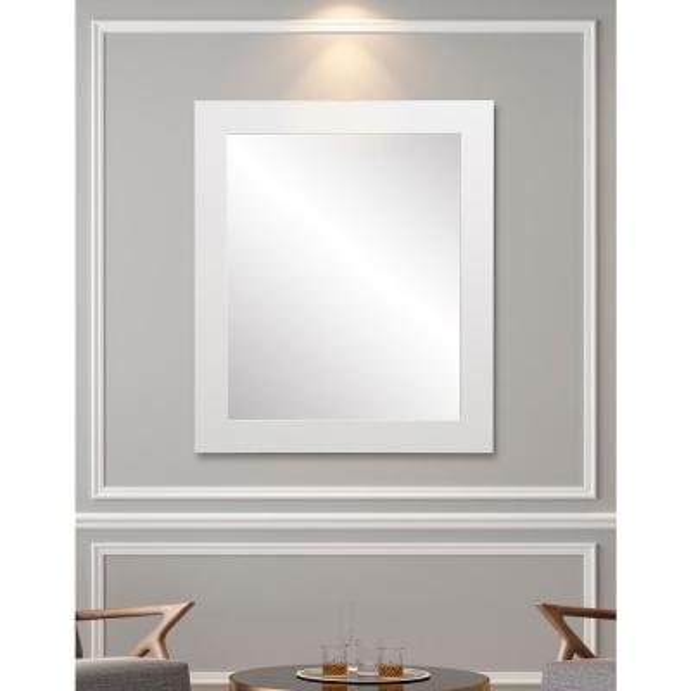 Decor 32 in. W x 55 in. H Framed Rectangular Bathroom Vanity Mirror in Matte White