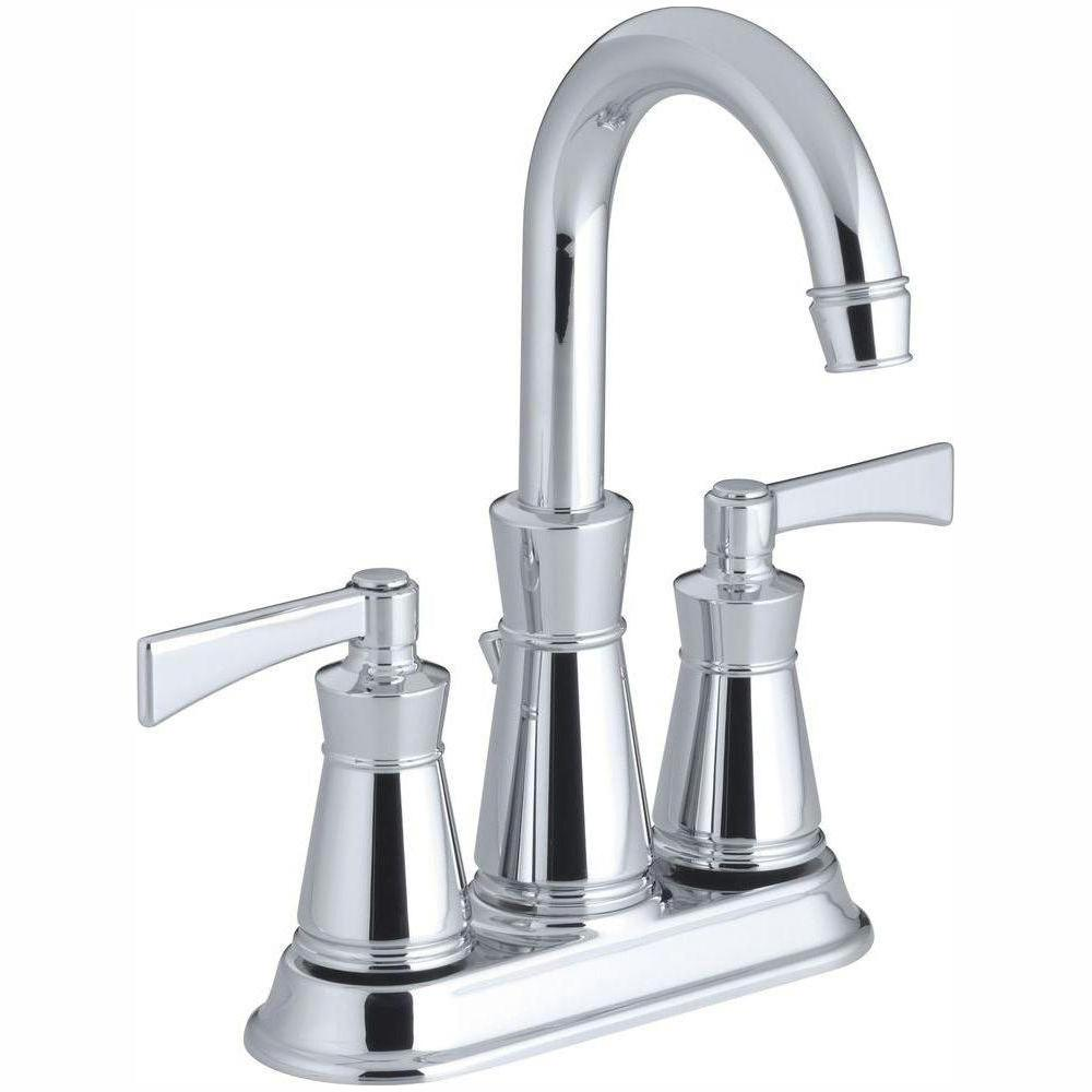 KOHLER Archer 4 in  Centerset 2-Handle Low-Arc Water-Saving Bathroom Faucet  in Polished Chrome