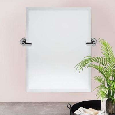21 in. W x 24 in. H Pivoting Beveled Single Frameless Mirror with Chrome Hardware