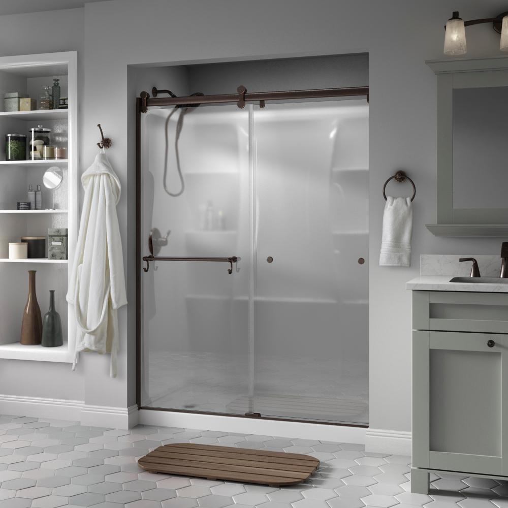 Portman 60 in. x 71 in. Semi-Frameless Contemporary Sliding Shower Door in Bronze with Niebla Glass