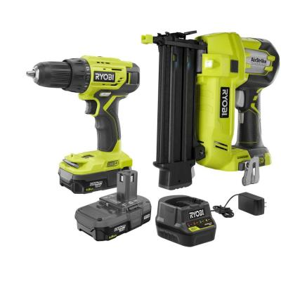 18-Volt ONE+ 1/2 in. Drill/Driver, 18-Gauge Cordless Brad Nailer Kit w/(2) 1.5 Ah Compact Lithium-Ion Batteries, Charger