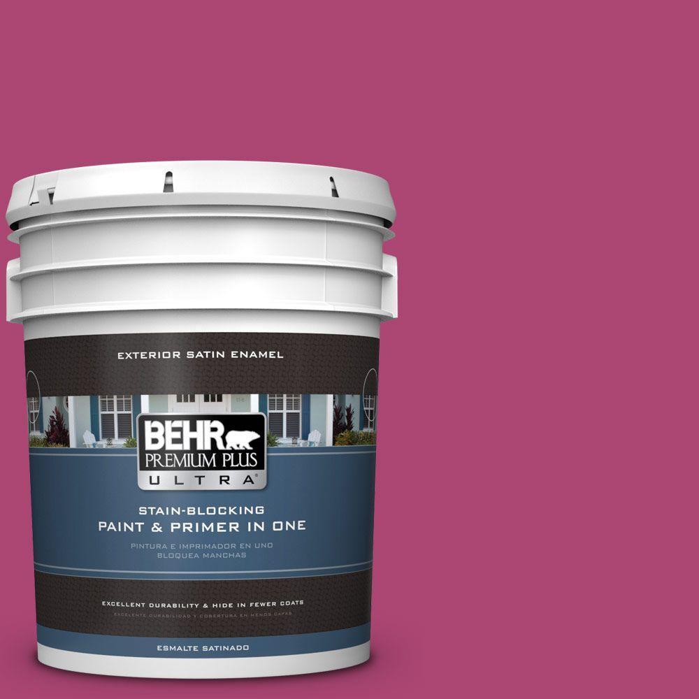 BEHR Premium Plus Ultra 5-gal. #100B-7 Hot Pink Satin Enamel Exterior Paint