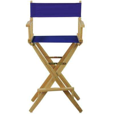 30 in. Extra-Wide Natural Wood Frame/Royal Blue Canvas Seat Folding Directors Chair