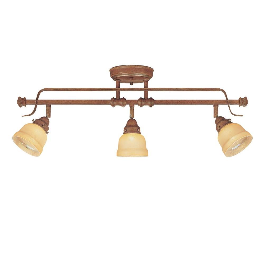 Hampton Bay Ceiling Light Fixtures: Hampton Bay 3-Light Adjustable Semi-Flush Mount Walnut