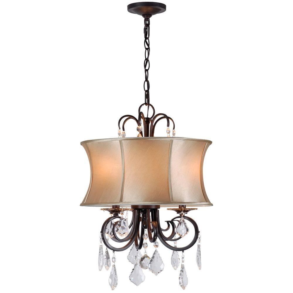 World imports annelise 3 light bronze chandelier with fabric shade world imports annelise 3 light bronze chandelier with fabric shade and crystal drop accents wi885389 the home depot mozeypictures Gallery