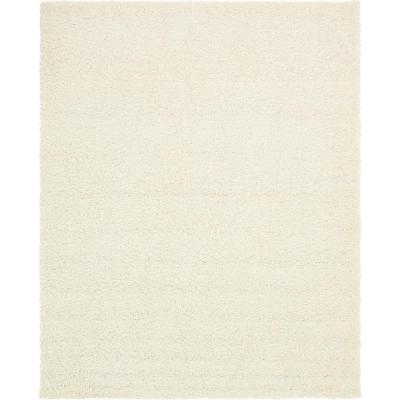 Solid Shag Snow White 8 ft. x 10 ft. Area Rug