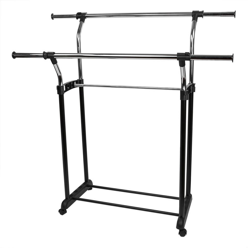 Adjustable Double Rail 21 in. x 41 in. Garment Rack