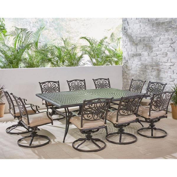Traditions 11-Piece Aluminum Outdoor Dining Set with 10 Swivel Rockers and Tan Cushions