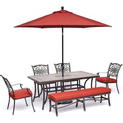Monaco 6-Piece Aluminum Outdoor Dining Set with Red Cushions 4 Dining Chairs, 1 Bench, and Tile-Table Top with Umbrella