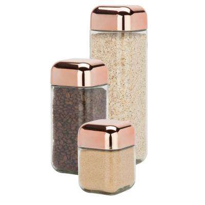 3-Piece 550ml, 1100ml and 1700ml Square Glass Storage Jar Set with Rose Gold with Twist Lids