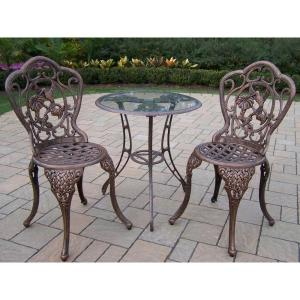 Hummingbird Antique Bronze 3-Piece Aluminum Outdoor Bistro Set by