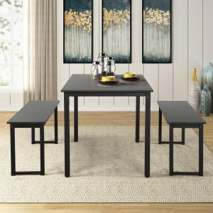 Harper & Bright Designs 3-Piece Black Dining Table Set with ...