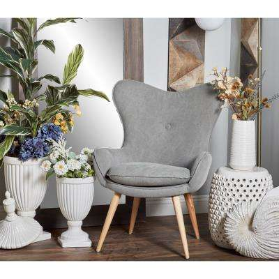 Gray Fabric and Wood Cushioned Arm Chair