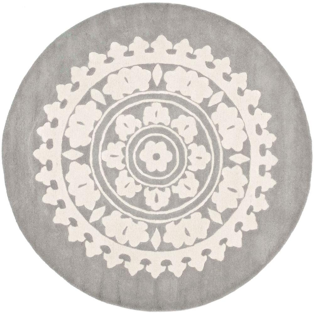 Safavieh Soho Light Grey Ivory 10 Ft X Round Area Rug Soh732k 10r The Home Depot