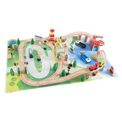 33 in. L x 22.5 in. W Wooden Train Set with Play Mat
