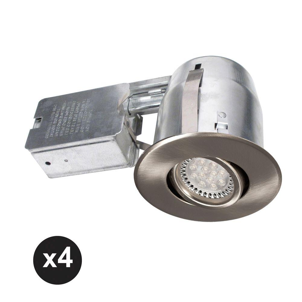 BAZZ 300 Series 4 in. Brushed Chrome Recessed LED GU10 Light Fixture Kit (4-Pack)