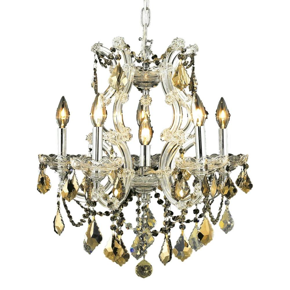 6-Light Chrome Chandelier with Golden Teak Smoky Crystal