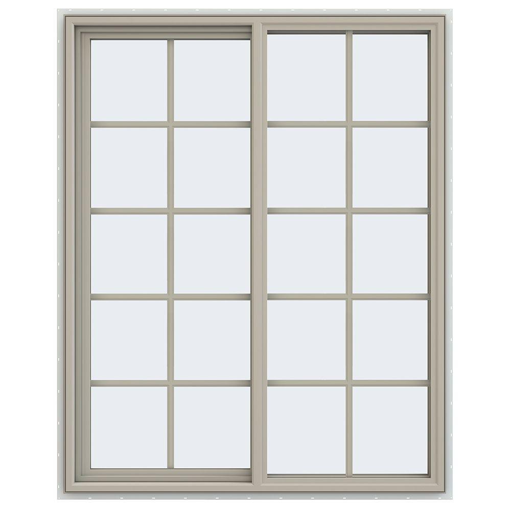 JELD-WEN 47.5 in. x 59.5 in. V-4500 Series Left-Hand Sliding Vinyl Window with Grids - Tan