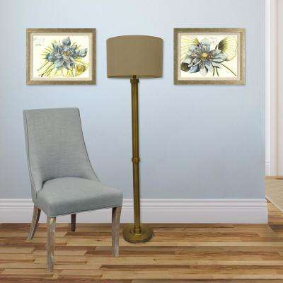 19.25 in. x 15.25 in. Blue Lotus Printed Framed Wall Art (Set of 2)