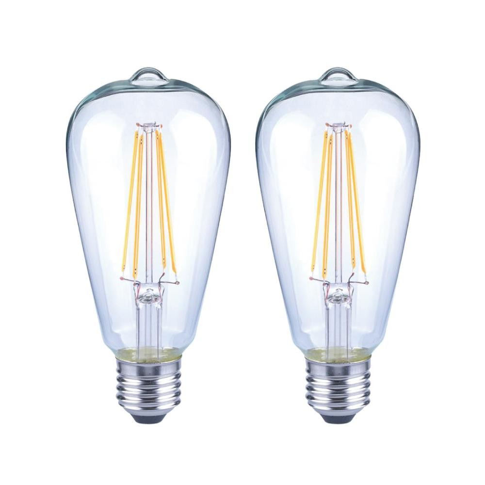 EcoSmart 40-Watt Equivalent ST19 Antique Edison Dimmable Clear Glass Filament Vintage Style LED Light Bulb Daylight (2-Pack)