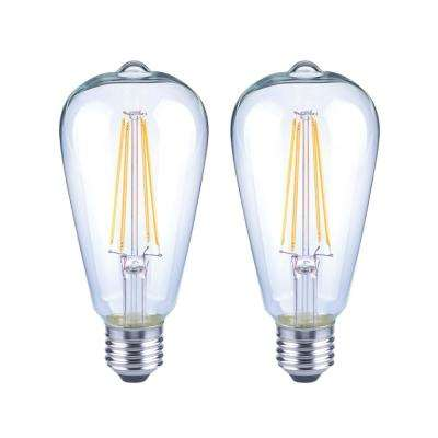 40-Watt Equivalent ST19 Dimmable Clear Glass Filament Vintage Edison LED Light Bulb Daylight (2-Pack)