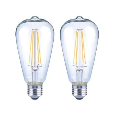 75-Watt Equivalent ST19 Antique Edison Dimmable Clear Glass Filament Vintage Style LED Light Bulb Daylight (2-Pack)