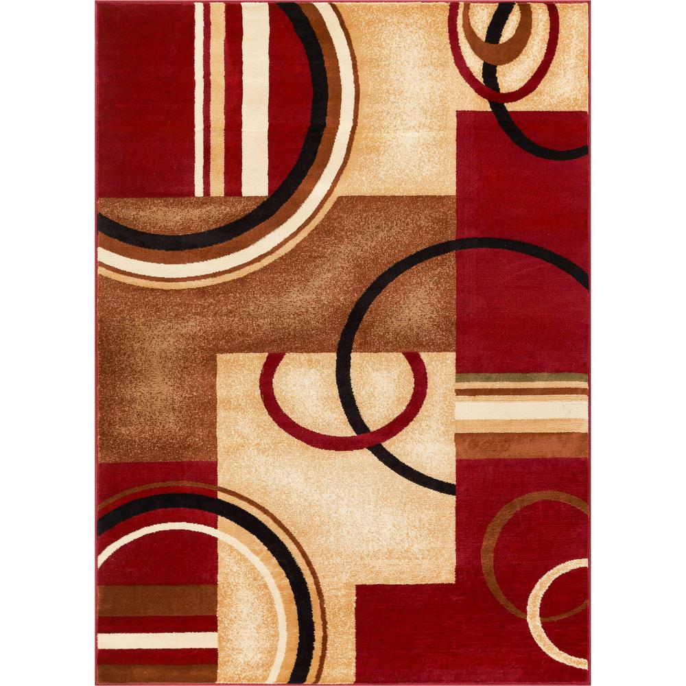 Well Woven Barclay Arcs And Shapes Red 5 Ft X 7 Modern Geometric