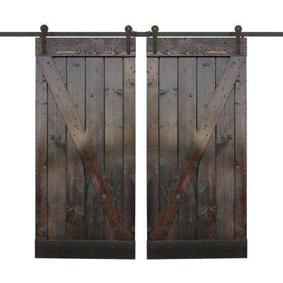36 in. x 84 in. Dark Chocolate Stain Wood Double Barn Door with Sliding Door Hardware Kit