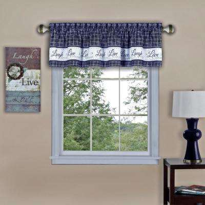Live, Love, Laugh 14 in. L Polyester Valance in Navy
