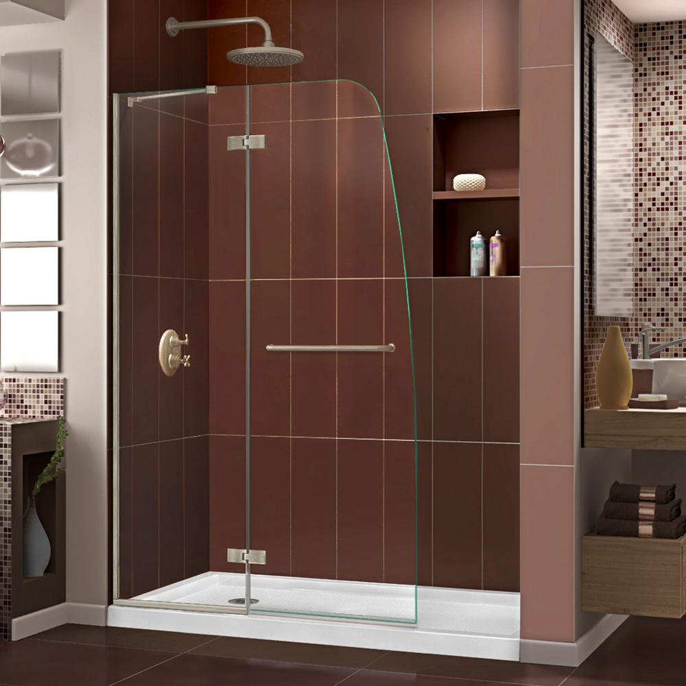 DreamLine Aqua Ultra 36 in. x 60 in. x 74.75 in. Semi-Frameless Hinged Shower Door in Brushed Nickel with Left Drain Acrylic Base