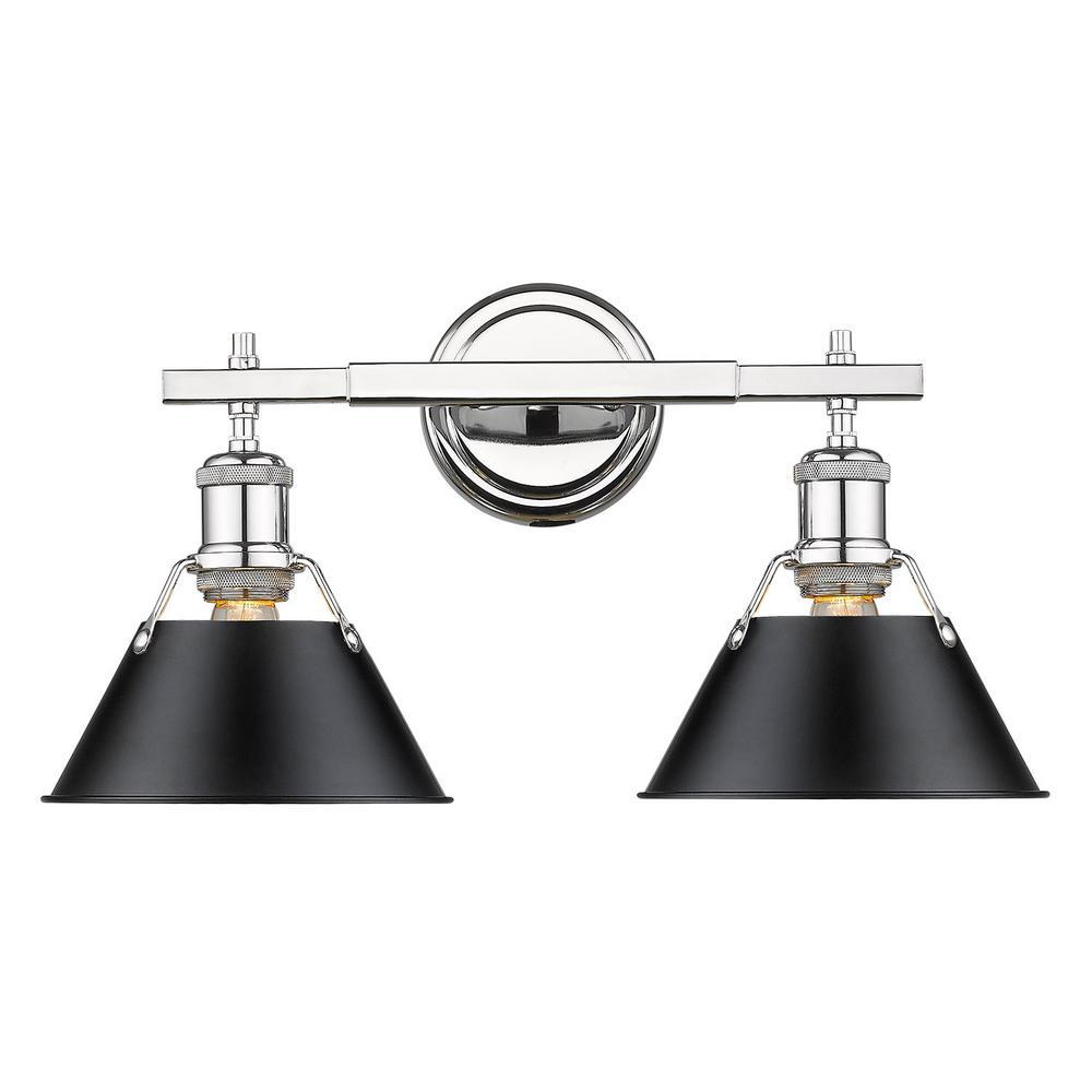 Orwell 2-Light Chrome with Black Shade Bath Vanity Light