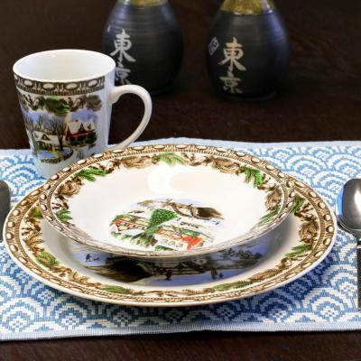 Christmas Toile 16-Piece Holiday Assorted Porcelain Dinnerware Set (Service for 4)
