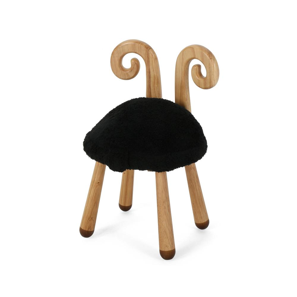 Pleasing Noble House Rose Reds Stoolimals Collection Black Faux Fur Sheep Stool Cjindustries Chair Design For Home Cjindustriesco