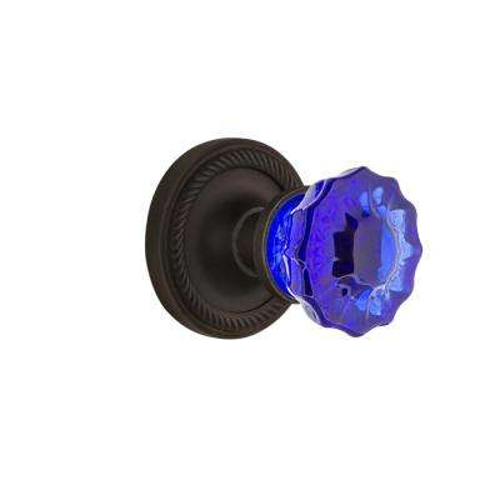 Rope Rosette 2-3/4 in. Backset Oil-Rubbed Bronze Privacy Crystal Cobalt Glass Door Knob