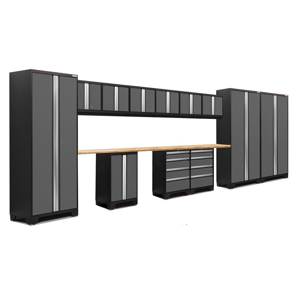 Bold 3.0 77.25 in. H x 234 in. W x 18 in. D 24-Gauge Welded Steel Bamboo Worktop Cabinet Set in Gray (15-Piece)