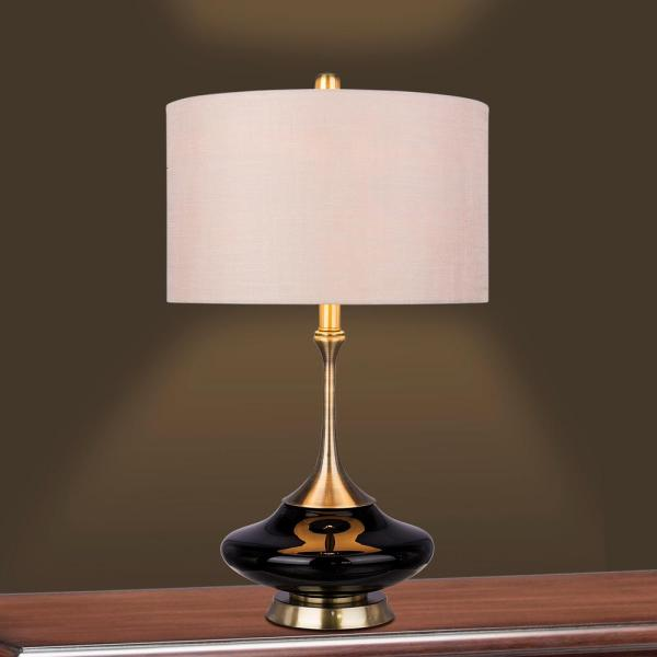 Fangio Lighting Retro 26 5 In Black Glass And Antique Brass Metal Glass With Metal Table Lamp W 5137blk The Home Depot