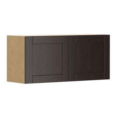 Ready to Assemble 33x15x12.5 in. Barcelona Wall Bridge Cabinet in Maple Melamine and Door in Dark Brown