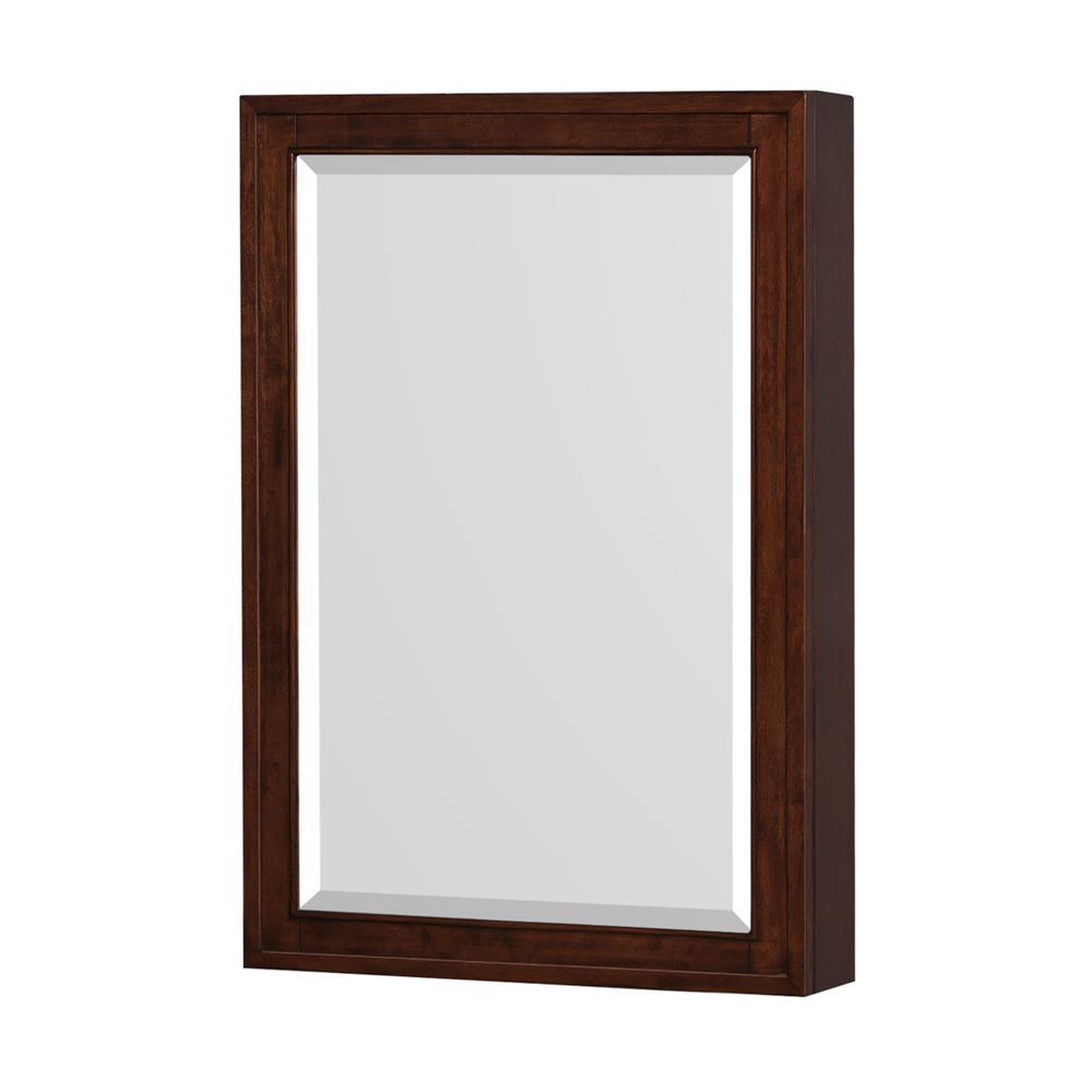 Hatton 24 in. W x 36 in. H Framed Rectangular Bathroom Vanity Mirror in Dark Chestnut
