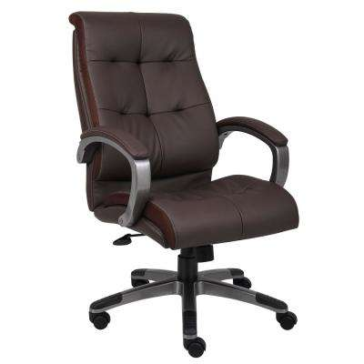 Brown Double Plush High Back Executive Chair