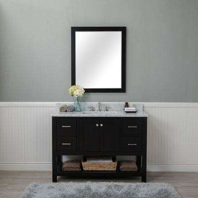 Wilmington 48 in. W x 22 in. D Vanity in Espresso with Marble Vanity Top in White with White Basin and Mirror