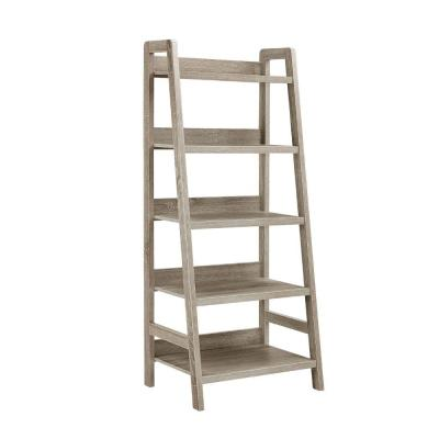 60 in. Height Transitional Style Gray with 5-Shelves Wooden Ladder Bookcase