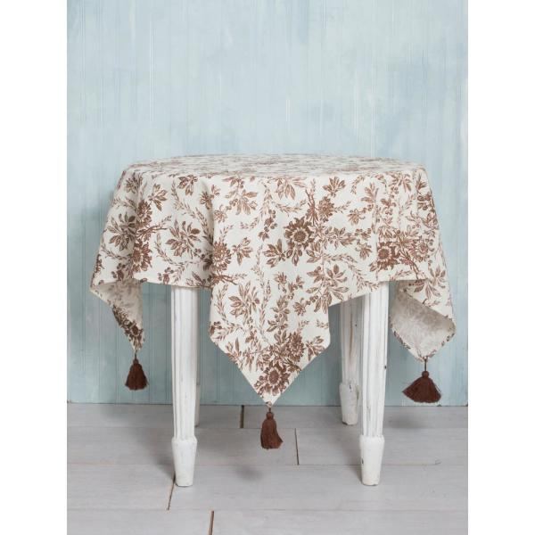 April Cornell 48 in. x 72 in.Felicity Brown Floral Tablecloth TPFEL72G.Brown