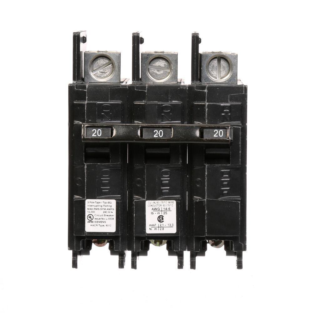 Siemens 45 Amp Triple Pole Type Blh 22 Ka Bolt On Circuit Breaker Digital Finder 20 Bq 10 Lug In Out