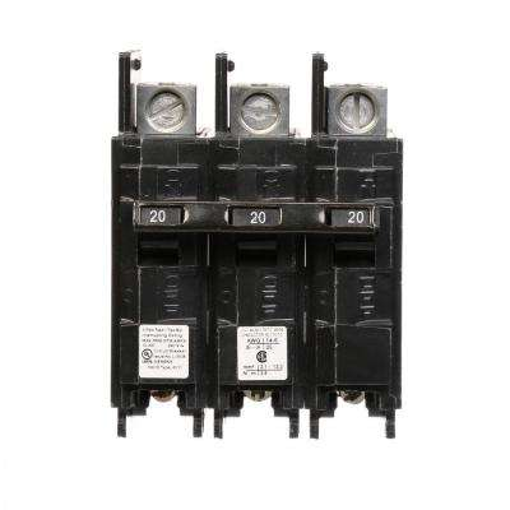 20 Amp Triple-Pole Type BQ 10 kA Lug-In/Lug-Out Circuit Breaker with Line Side Lugs